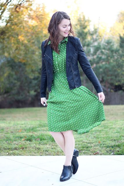 green polka dot dress with black leather