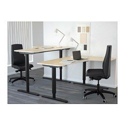 BEKANT Corner desk right sit/stand, birch veneer, black - 160x110 cm - IKEA