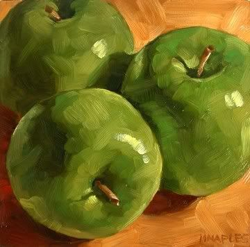 Green apple painting