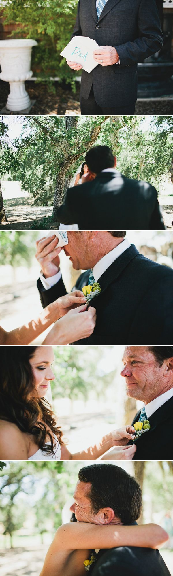 The father of the bride seeing his little girl in her wedding dress for the firs...