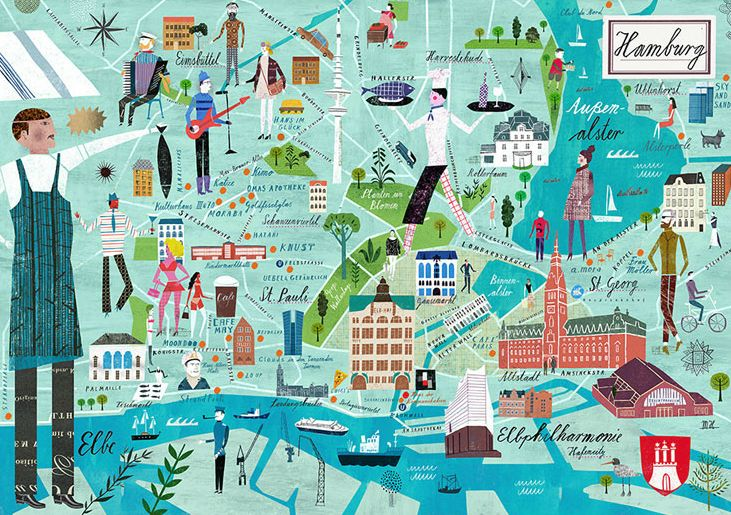 Jigsaw Puzzle Maker >> Hamburg illustrated #map by Martin Haake | You are Here ...