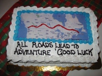 Map cake for going away/farewell party. All roads lead to adventure, good luck!