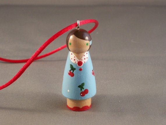 Claire Loves Cherries Hand Painted Personalized Doll Pendant - IN STOCK