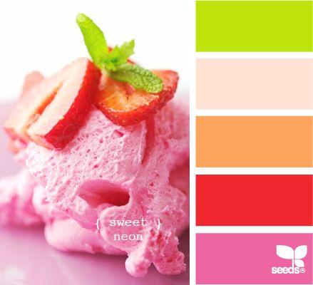 sweet neon: Color Palettes, Strawberries Ice Cream, Design Seeds, Color Schemes, Summer Colour, Bathroom Interiors Design, Colour Palettes, Colour Schemes, Paintings Colour