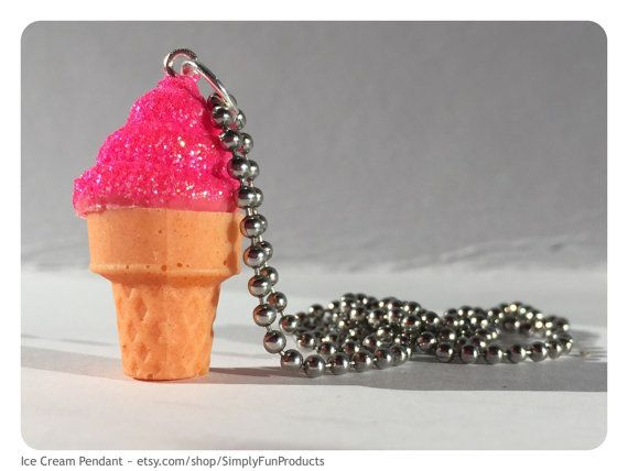 Strawberry ice cream pendant ice cream by WhitePansyBoutique