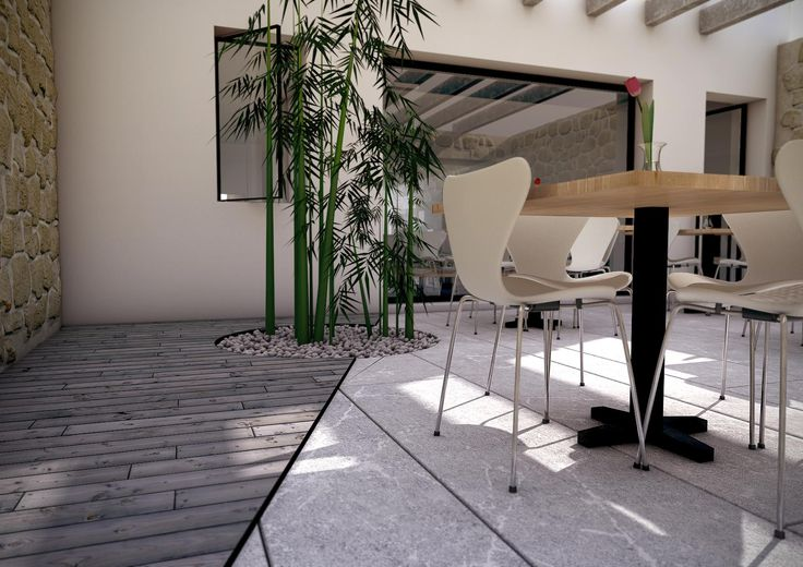 Terrace restaurant, image done in 3d studio Max