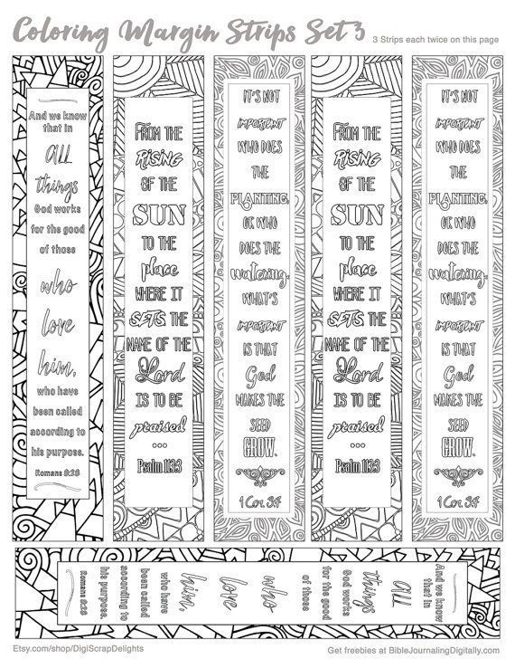 printable coloring bible journaling margin by digiscrapdelights zentangle zendoodle bookmark marginstrip - Books Of The Bible Coloring Pages