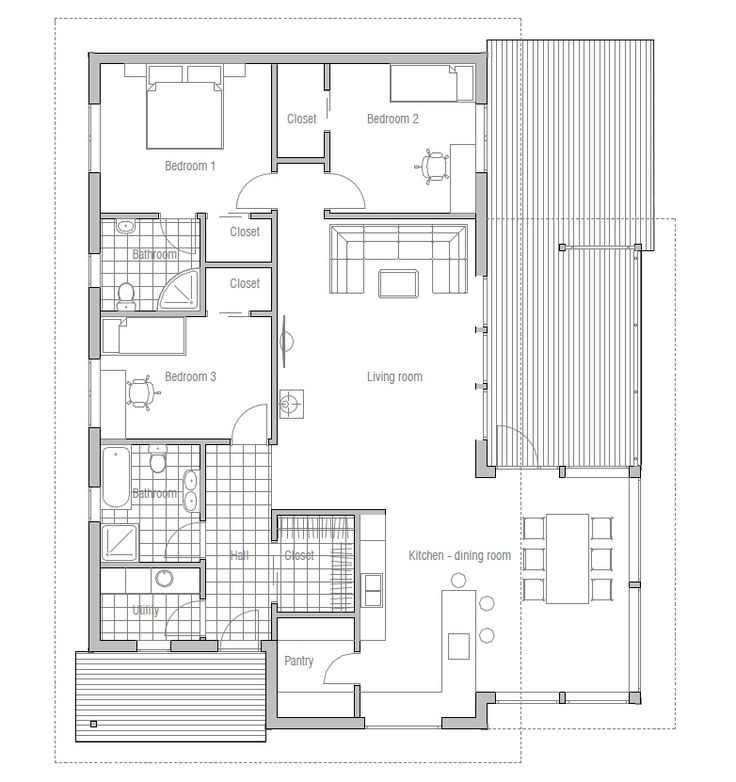 Modern House Plan. Simple lines and shapes. Modern House with ...