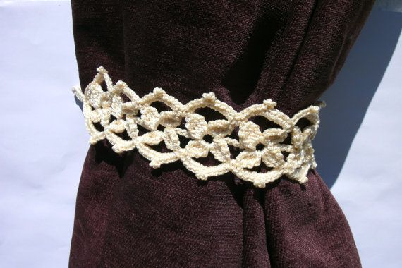 Curtain tie backs Pair of 2 crochet curtain by CrochetedCosiness