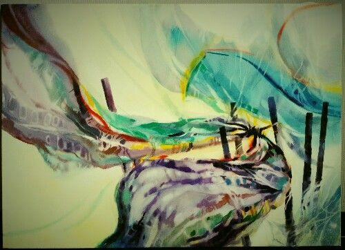 Lifeㅡwatercolor.Life is like Clothes hanging on rope .