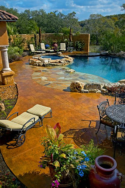 pool: Pools Area, Dreams Houses, Outdoor Living, Swim Pools, Stained Concrete, Hot Tubs, Dreams Pools, Backyard Pools, Pools Ideas