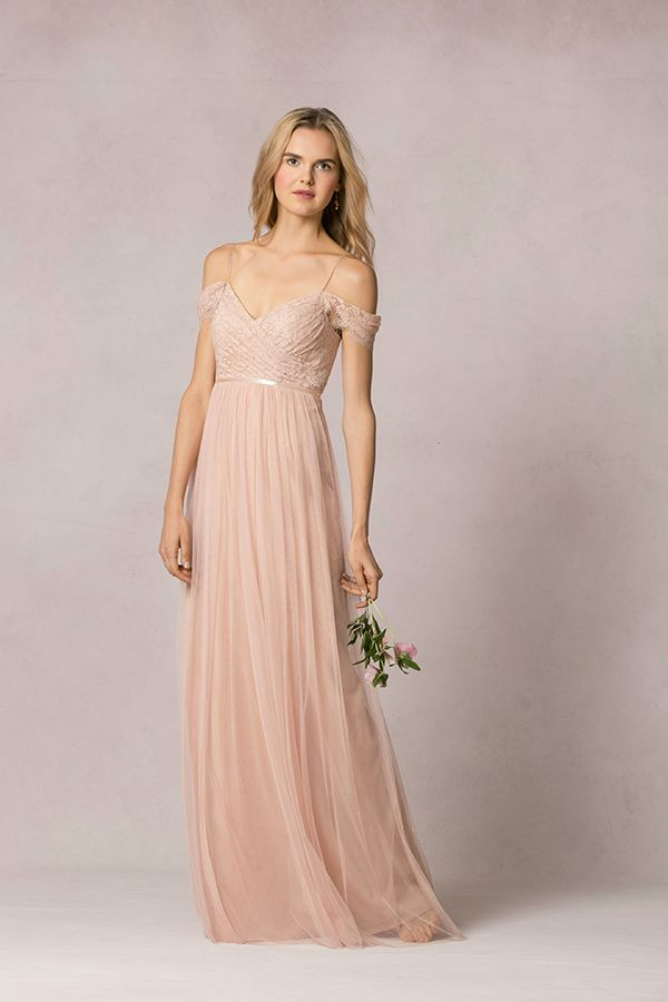 One of the prettiest pastel bridesmaid dresses: a romantic long bridesmaid dress with a lace bodice #jennyyoo #pastelbridesmaid