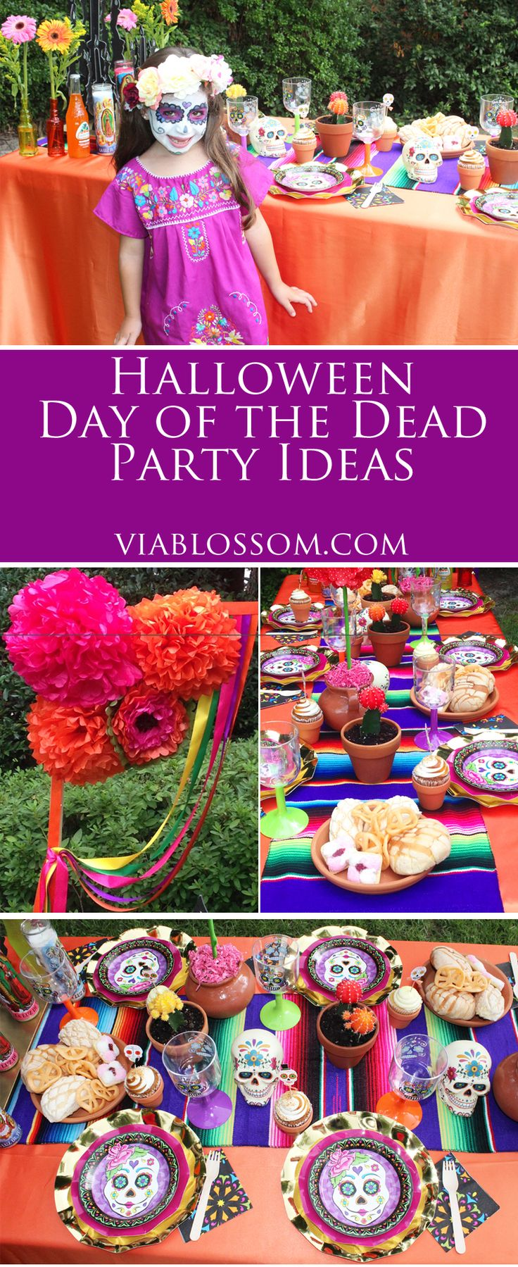 Day of the Dead Party ideas and decorations on the Via Blossom Blog!  Just in time for Halloween!