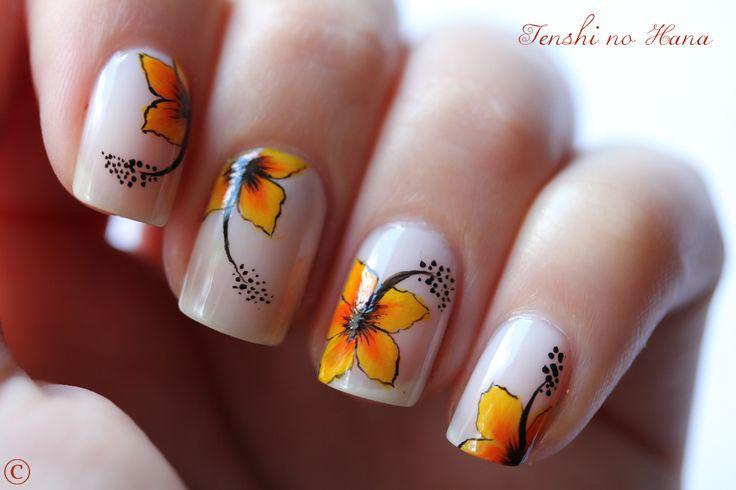 Hibiscus exotiques (One Stroke) - Nature Nails Nail Art by Tenshi no Hana