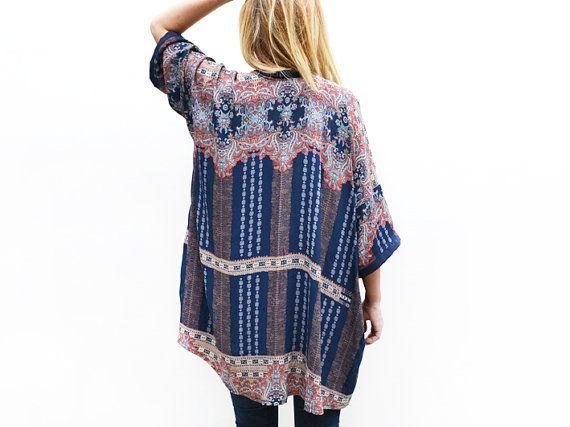 Summer Kimono, Bohemian Kimono Cardigan, Light Summer Jacket, Kimono Coverup, Blue Kimono, Unique Clothing, Summer Fashion