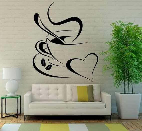 Cup Of Coffee Wall Decal Cafe Dining Vinyl Stickers Murals Etsy Wall Painting Decor Coffee Shop Decor Diy Wall Painting