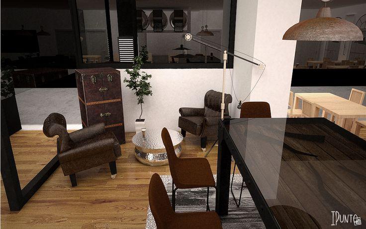 Interiorismo bar restaurante Tavico #diseño #interiorismo #industrial #bar #restaurante #cafetería #render #3d