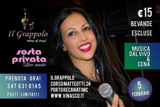 """Musica Live e Cena a """"Il Grappolo""""   con Sosta Privata ! 5 Febbraio 2016 !  prezzo 15 euro (bevande escluse)  Vi ASPETTIAMO !   Info e prenotazioni 347/6310145  Corso Matteotti 24 Porto Recanati MC Vinasco / Il Grappolo  #ilgrappolo #portorecanati #vini #wine #food #mangiare #monteconero #mare #vacanze #italianfood #italy #madeinitaly #holiday #summer #conero #music #live #sostaprivata #carnevale2016 #carnevale"""