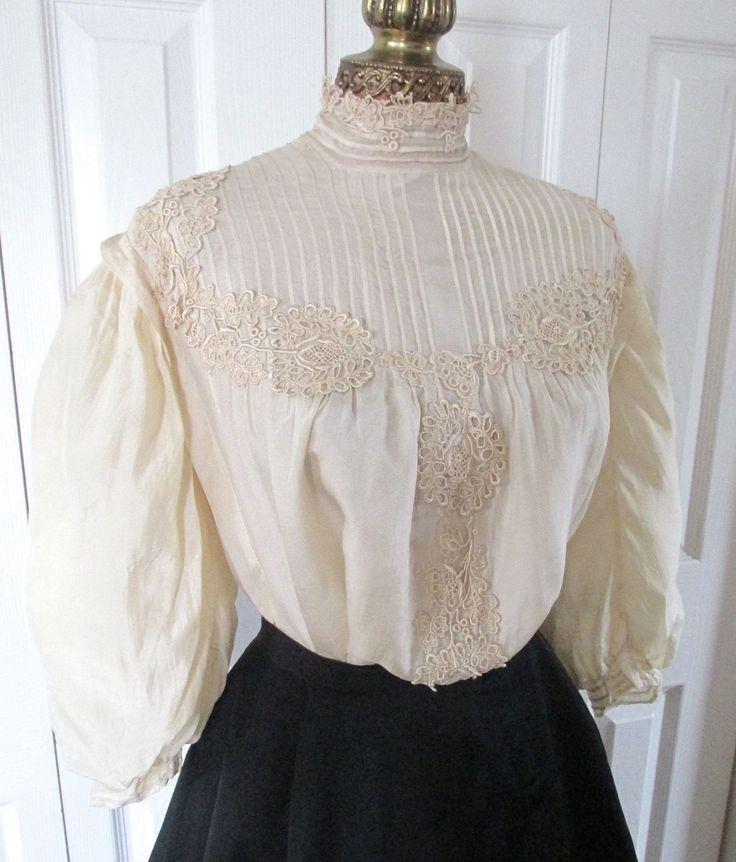 Sublime Antique Edwardian Gibson Girl Cream Tissue Silk Dinner Tea Bodice C1905   eBay