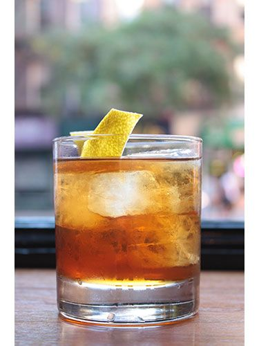 "The Sazerac 1 1/2 oz cognac (such as Louis Royer ""Force 53"" VSOP) 1 oz Carpano Antica  1/2 oz Orchard apricot liqueur 1/4 oz Fino sherry 2 dashes Angostura bitters Orange peel, for garnish"