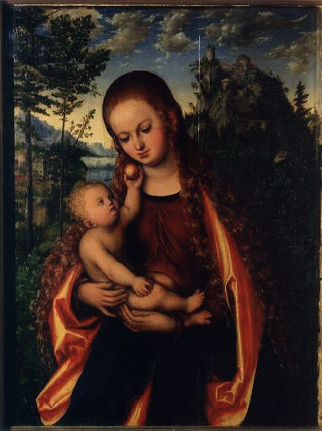 "Madonna with Child  by Lucas Cranach the Elder was kept at the collegiate church in Głogów  until the WWII.It  fell into Russian hands in 1945"". On 06/04/1945 the painting was requisitioned by the mayor, Mossev. After the year 2000, a reproduction of the painting appeared on the website of the Pushkin State Museum of Art in Moscow.Poland has been making efforts to reclaim the piece since 2004"