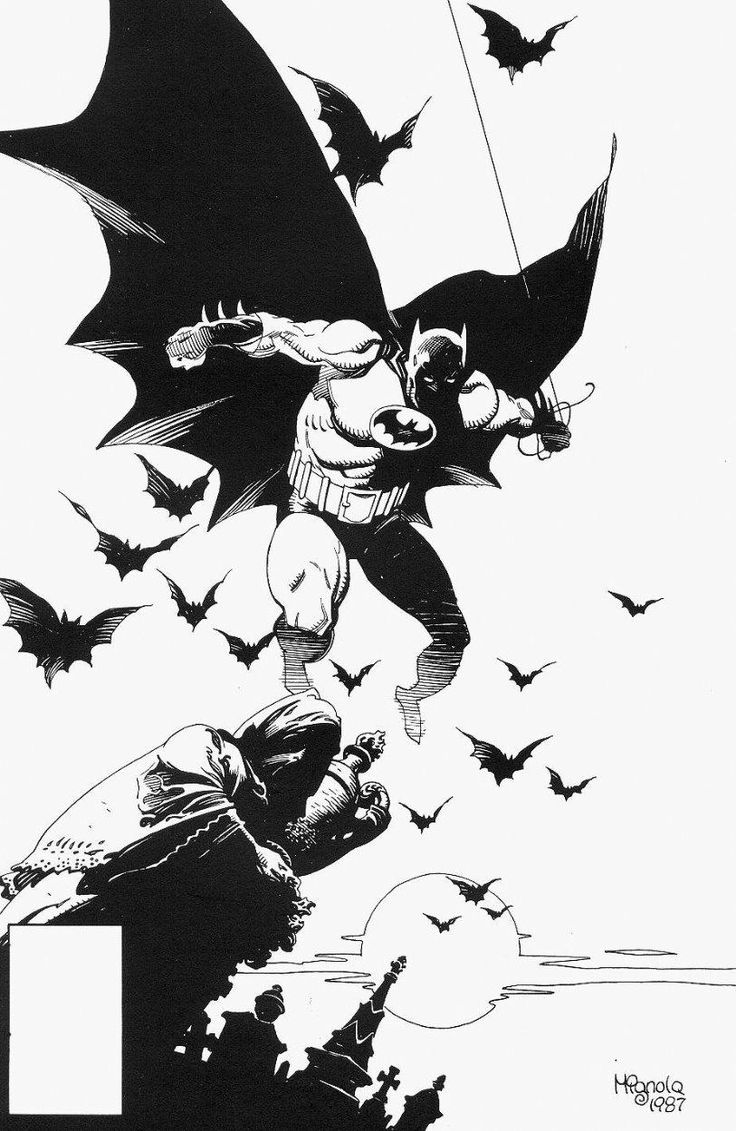 Mike Mignola's massive modern Batman. Also with a big belt -- to go with his big chest.    Batman by Mike Mignola. How can you possibly go wrong?