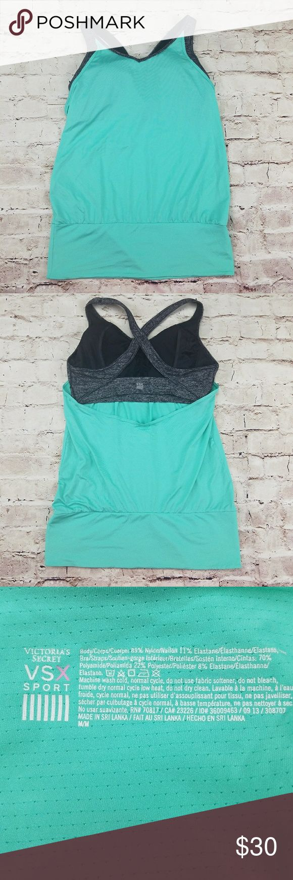 Victoria's Secret Teal Workout Tank Built in Bra M VSX by Victoria Secret Sport Teal Workout Tank with Striped Gray Sports Bra - Open Back - Sz M  Teal Mesh Workout Tank Top with Gray (Black & White) Striped Criss-Cross Sports Bra  Racerback Sports Bra with Removable Pads Padded Sports Bra V Neck Teal / Mint Green Activewear Top - Wide Waist Band with Built in Bra Top  Style Number - 36009464 / 09 13 / 308707  Great for yoga, cross-fit, working out, active wear and athleisure. Victoria's…