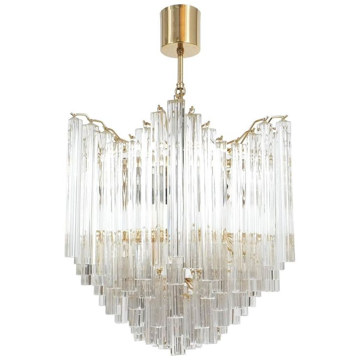 Four-Tier Chandelier with Murano Glass Triedri Prisms style of Venini