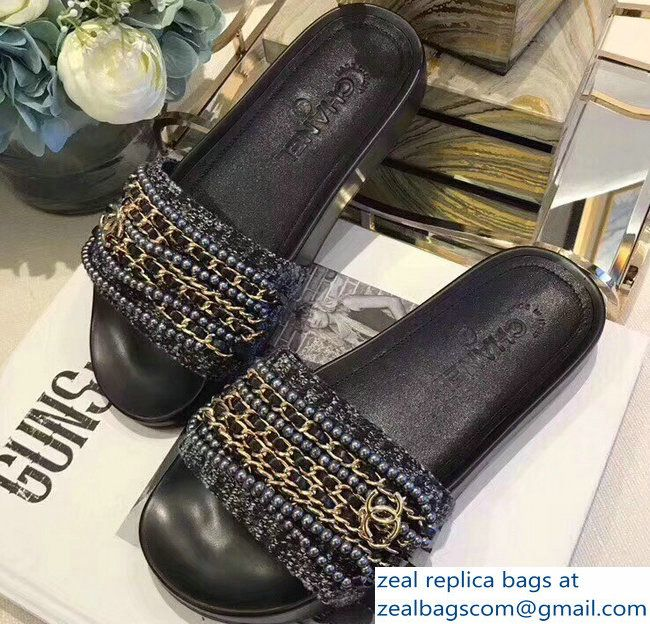 d01a5d3b66c Chanel Chain Mules Slipper Sandals Pearl Tweed Gold 2018