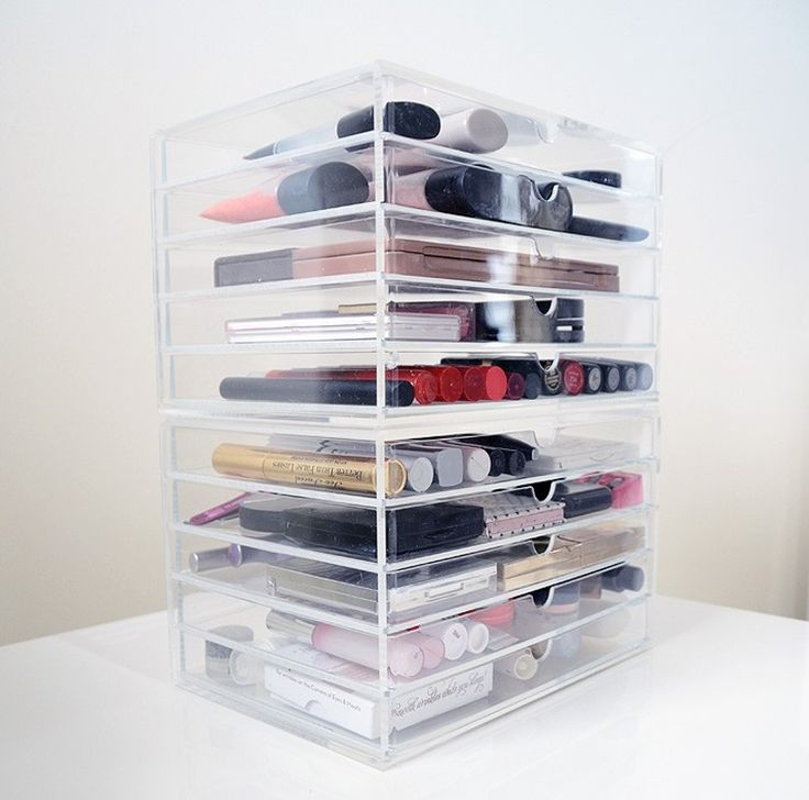 9 Cabinet Storage Products that Maximize Every Last Square Inch of Space Katie Holdefehr Jul 25, 2016 acrylic storage case with makeup