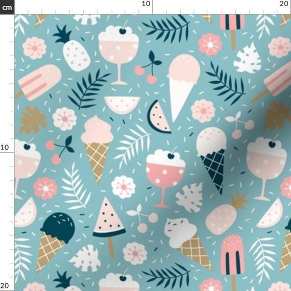 Ice Cream Fabric – Sommer-Leckereien von Innamoreva – Ice Cream Baby Nursery Modern B …   – Products