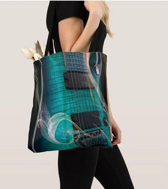 Tote bage Blue guitar print Tote bag/ yoga bag beach bag/