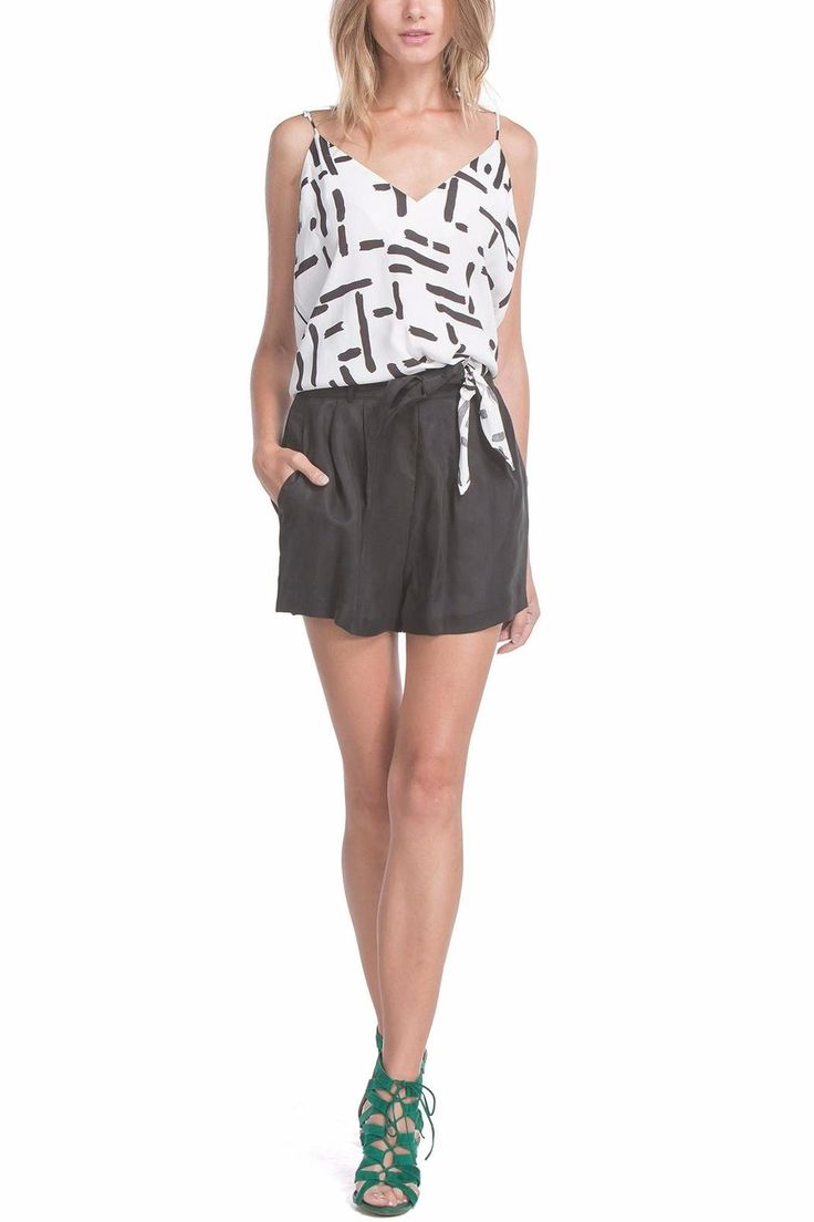 Black and white print top, features tie at bottom, fully lined in 100% polyester. Hits right above waist.   Anais Cami Top by Line & Dot. Clothing - Tops - Sleeveless Louisiana
