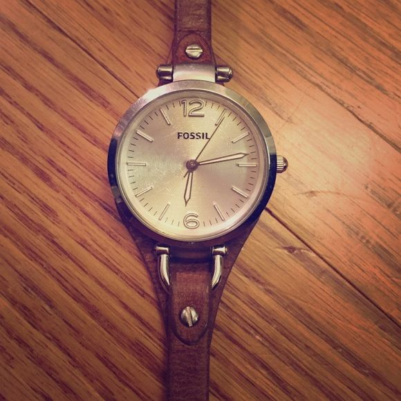 Women's fossil watch Leather band, great condition, only worn a few times. Fossil Jewelry Bracelets