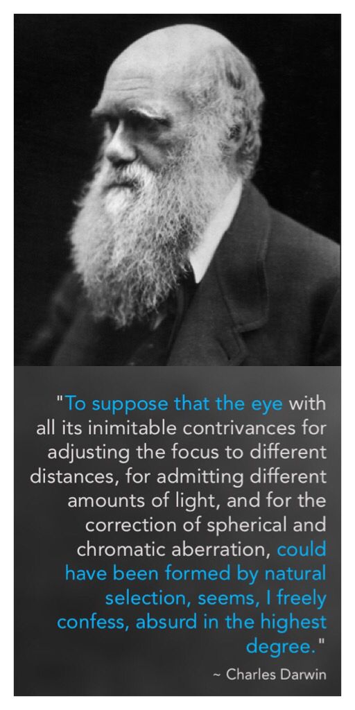 """Charles Darwin wrote: """"To suppose that the eye with all its inimitable contrivances for adjusting the focus to different distances, for admitting different amounts of light, and for the correction of spherical and chromatic aberration, could have been formed by natural selection, seems, I freely confess, absurd in the highest degree."""""""