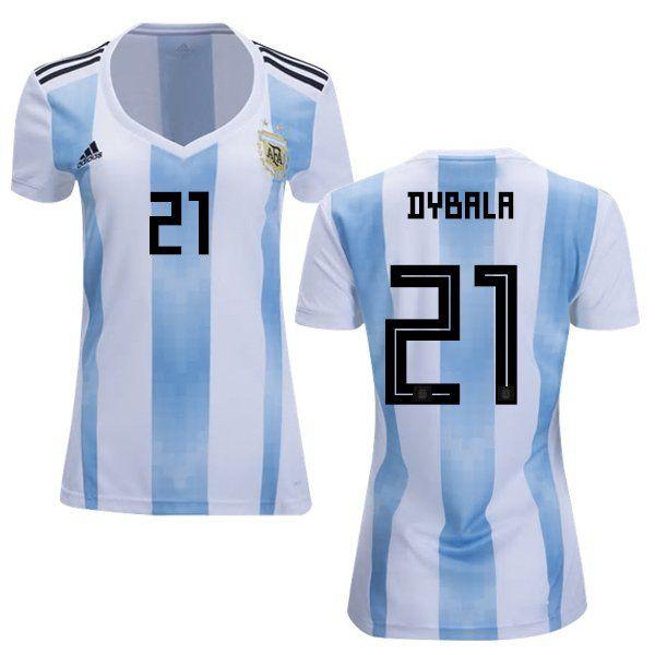buy online a8148 db1f9 Women's+Paulo+Dybala+#21+Argentina+Away+Jersey+2018+World+ ...