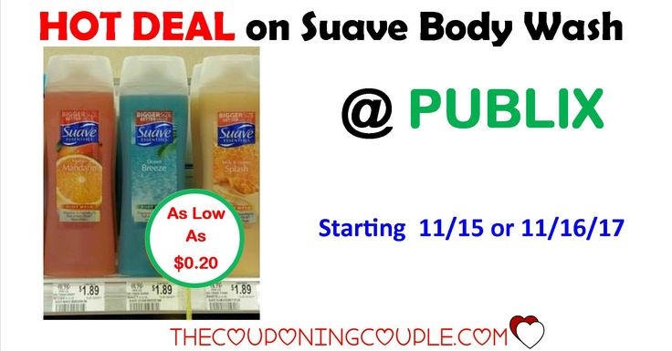 Suave Body Wash $0.20 each @ Publix starting 11/15 or 11/16. This is a great price to grab a few bottles of body wash for your stockpile!  Click the link below to get all of the details ► http://www.thecouponingcouple.com/suave-body-wash-only-0-92-each-publix/ #Coupons #Couponing #CouponCommunity  Visit us at http://www.thecouponingcouple.com for more great posts!