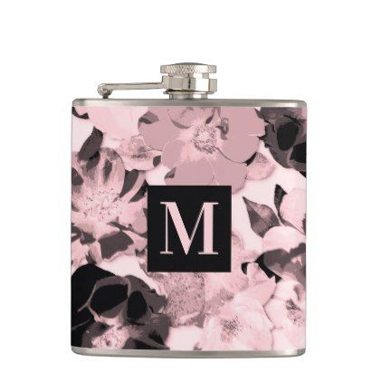Wild Rose Pattern Millennial Pink Monogram Flask - monogram gifts unique design style monogrammed diy cyo customize