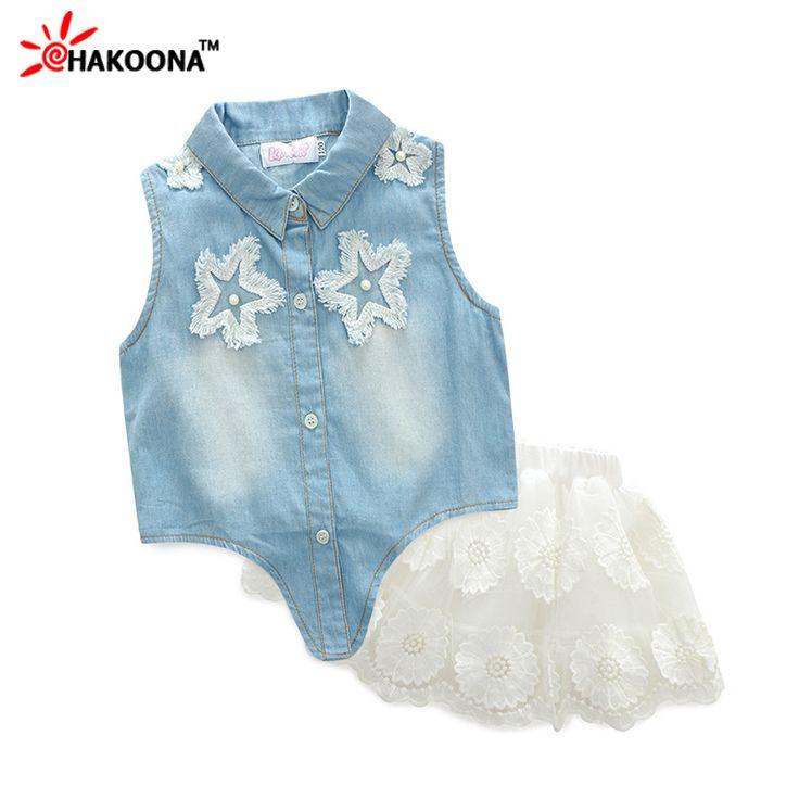 $19.74 (Buy here: https://alitems.com/g/1e8d114494ebda23ff8b16525dc3e8/?i=5&ulp=https%3A%2F%2Fwww.aliexpress.com%2Fitem%2FHAKOONA-2016-Summer-Children-s-Sets-Sleeves-Demin-Shirt-White-Skirt-Star-New-Fashion-Princess-Girl%2F32620145866.html ) HAKOONA 2016 Summer Girl's Sets Sleeveless Denim Shirts + White Skirt  Princess Ball Gown Dress Two Piece Children's Clothes for just $19.74