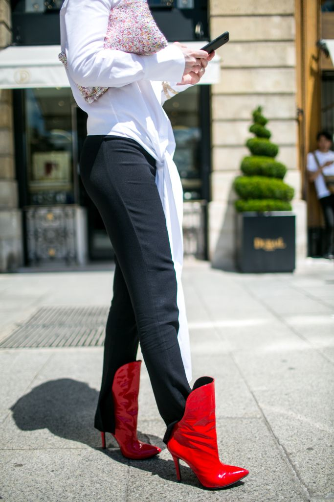 Street style at Paris Couture Week Fall 2017: Red heeled booties