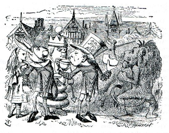 The Mad Hatta, Haigha, the King and Alice