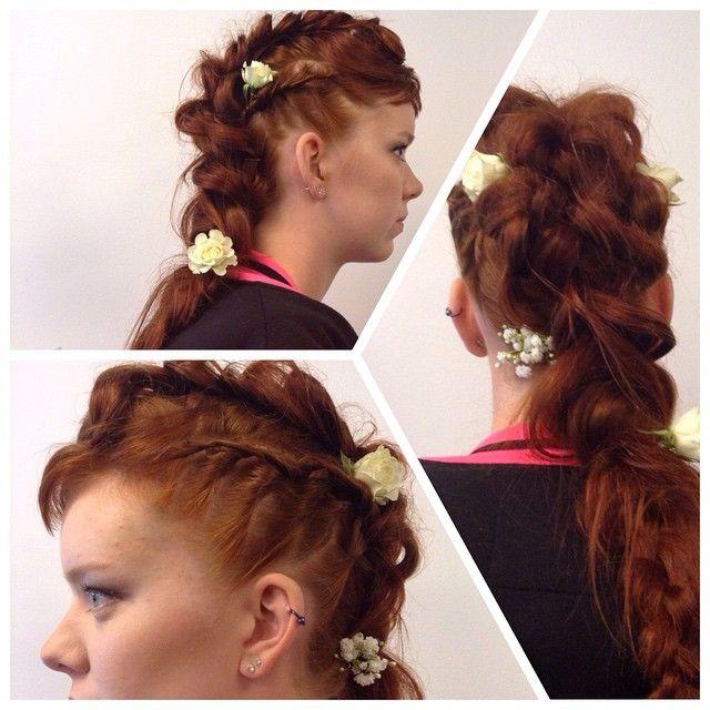 #weddinghair #longhair #redhead #red #hairdo #brading #roses made By Sirpa Polvi