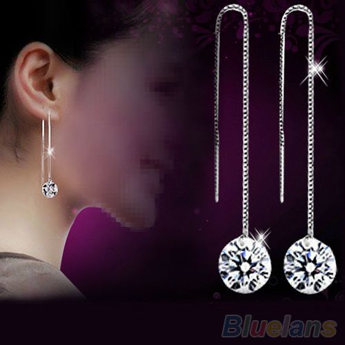 Women's Attractive Zircon Topaz Silver Plated Decor Drop Dangle Chain Earrings