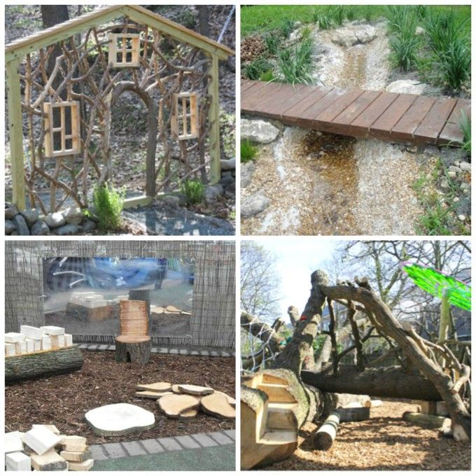 Beautiful outdoor play spaces! LOTS of great ideas. I love the loose parts next to the mirror and the branch house entrance. Super Reggio.