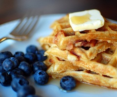 Blueberry and waffles