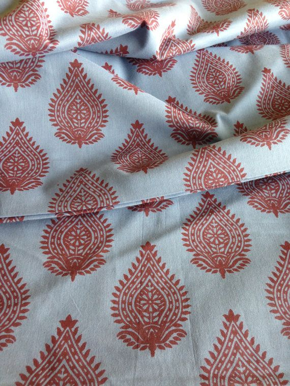 Striking and wonderful Block Print inspired Paisley design.Wonderful shades of pale Indigo and soft madder . Dyes are obtained from plant and