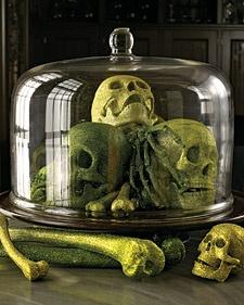 Halloween Skeletons and Skull Decorations: Halloween Decorations, Skulls, Holiday, Cake, Martha Stewart, Halloween Ideas, Halloween Party, Glittered Skull