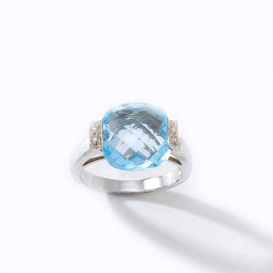 Bague or blanc, topaze bleue et diamants 12285TB