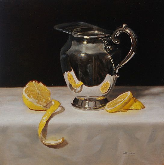 "Silver Pitcher and Lemon by Susan Paterson Oil ~ 9"" x 9"""