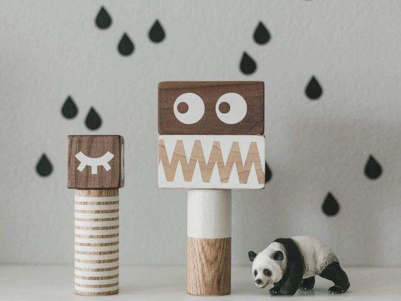 Monsters, Stacking blocks, Wood Blocks, Photo prop, Toddler toy, Gift for toddler, Children, Nursery decor, Geometric print, Modern toy